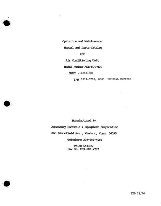 ACE-804-920 Air Conditioning Unit Manual