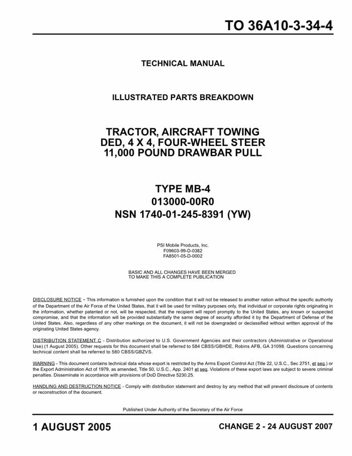 Psi Mobile Products Mb-4 Tow Tractor Manual