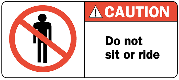 Decal O2n2 Caution Do Not Sit Or Ride 4 875 Quot X 2 125